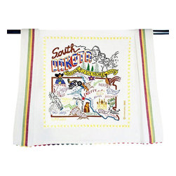 CATSTUDIO - South Dakota State Dish Towel by Catstudio - This original design celebrates the state of South Dakota.  This design is silk screened, then framed with a hand embroidered border on a 100% cotton dish towel/ hand towel/ guest towel/ bar towel. Three stripes down both sides and hand dyed rick-rack at the top and bottom add a charming vintage touch. Delightfully presented in a reusable organdy pouch. Machine wash and dry.