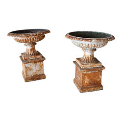 Pr. Large Victorian Urns On Plinths