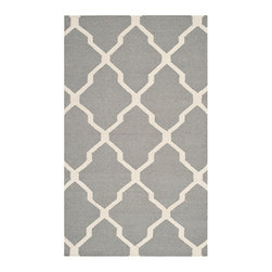 Safavieh - Dhurries Grey and Ivory Rectangular: 5 Ft. x 8 Ft. Rug - - This distinctive piece is both stylish and incredibly soft to the touch with bold rich colors that complement any room. Flat-woven by hand in India  - Pile Height: 0.25  - Construction: Flatweave  - Shedding is a normal occurrence and will reduce over time with frequent vacuuming. It is also recommended that you vacuum regularly to prevent dust and crumbs from settling into the roots of the fibers. AVOID DIRECT AND CONTINUOUS EXPOSURE TO SUNLIGHT. USE RUG PROTECTORS UNDER THE LEGS OF HEAVY FURNITURE TO AVOID FLATTENING PILES. DO NOT PULL LOOSE ENDS, CLIP THEM WITH SCISSORS TO REMOVE. TURN CARPET OCCASIONALLY TO EQUALIZE WEAR. REMOVE SPILLS IMMEDIATELY ; IF LIQUID, BLOT WITH CLEAN, UNDYED CLOTH BY PRESSING FIRMLY AROUND THE SPILL TO ABSORB AS MUCH AS POSSIBLE. FOR HARD TO REMOVE STAINS, PROFESSIONAL RUG CLEANING IS RECOMMENDED. STORE IN A DRY, WELL-VENTILATED AREA. USE OF A RUG PAD IS RECOMMENDED. Safavieh - DHU634B-5