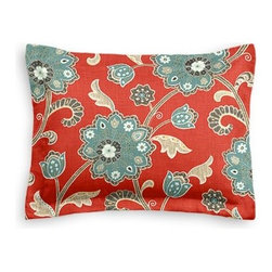 Red & Aqua Stylized Floral Custom Sham - The Simple Sham may be basic, but it won't be boring!  Layer these luxurious reversible shams in various styles for a bed you'll want to fall right into. We love it in this funky stylized floral with bold bursts of teal and small hints of metallic gold and gray swirling across a cherry red cotton background.
