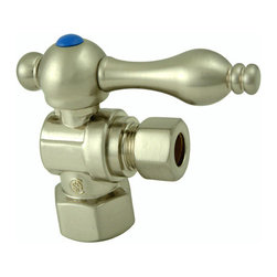 Kingston Brass - Angle Stop with 1/2in. IPS x 3/8in. OD Compression - The 1/4-turn angle stop valve features a stylish vintage lever which controls the movement of water through and from plumbing fixtures. The valve is made of solid brass built for durability and dependability and also comes in a variety of finishes to better coordinate your kitchen/bathroom.