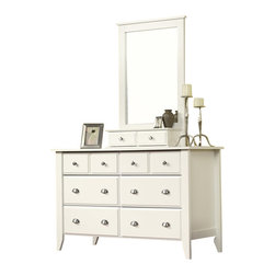 Sauder - Sauder Shoal Creek Dresser and Mirror Set in Soft White - Sauder - Dressers - 411201411236PKG