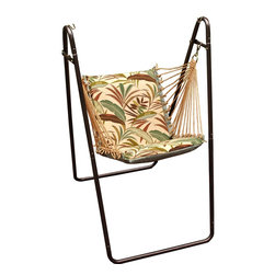 Algoma Swing Chair and Stand Combination - Relax in style with this Algoma Swing Chair and Stand Combination. The green framed swing chair features weather-resistant fabric and polyester rope cord with classy macramé clew ends. The thick foam cushions are comfy enough that you'll want to kick back for hours. It comes in 4 different color combinations to match any style (in-stock status may vary). Made in the USA.