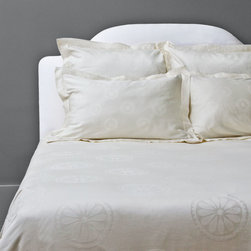 Jacquard Duvet Cover, The Balboa - This 350 thread count duvet cover features our favorite geometric pattern woven in jacquard weave in a beautiful shade of cream.