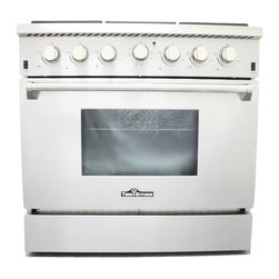 """Hyxion - 36"""" Professional Style Stainless Steel Gas Range, Propane - Let this hot new gas range help you create meals like a professional chef. For those with discriminating tastes, this 5.2 cubic foot oven has the space to get it all done and the power to get it done fast. The freestanding gas range features 6 high powered gas burners which allow you to cook from a high heat for boiling, frying or searing to a low simmer for the most delicate sauces. With its classic stainless steel body and modern black finishes this freestanding gas range is designed to perform as well as it looks."""