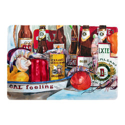 Caroline's Treasures - Veron's And New Orleans Beers Kitchen Or Bath Mat 24X36 - Kitchen or Bath COMFORT FLOOR MAT This mat is 24 inch by 36 inch.  Comfort Mat / Carpet / Rug that is Made and Printed in the USA. A foam cushion is attached to the bottom of the mat for comfort when standing. The mat has been permenantly dyed for moderate traffic. Durable and fade resistant. The back of the mat is rubber backed to keep the mat from slipping on a smooth floor. Use pressure and water from garden hose or power washer to clean the mat.  Vacuuming only with the hard wood floor setting, as to not pull up the knap of the felt.   Avoid soap or cleaner that produces suds when cleaning.  It will be difficult to get the suds out of the mat.