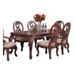Coaster - Coaster Nottingham Rectangular Dining Table with Cabriole Legs in Rich Brown - Coaster - Dining Tables - 101021 - This collection of elaborate carvings and careful detail brings forth the kind of beauty reserved only for the Master dining room. Each piece is constructed from birch solids and veneers in a rich brown finish. The china cabinet features drawer stops with three can lights a dust cover and touch light. Create an exquisite dining room with the Nottingham collection and bring a traditional elegance to your home. This rectangular dining table has a refined elegant look that goes with any dining room decor. The set is crafted in a traditional design with cherry veneers and birch solids and a refined brown finish. The formal dining table is expandable for extra seating while the legs have a formal nicely crafted design that allows them to touch easily on your floor's surface. A pull out drawer is also featured on each end for hidden storage. Pair with the carved chairs to create an extravagant seating arrangement.