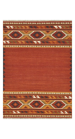"""Loloi Rugs - Loloi Rugs Isara Collection - Red / Gold, 3'-6"""" x 5'-6"""" - The Isara Collection finds inspiration from antique Turkish and Persian kilims, updating the vintage looks for today. These reversible tribal and Southwestern looks maintain an antique, worn appearance, thanks to a meticulous coloring process. Made in India of 100% wool, Isara is a new classic for today."""