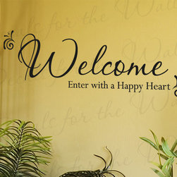 Decals for the Wall - Wall Decal Sticker Quote Vinyl Decorative Welcome Enter with a Happy Heart E05 - This decal says ''Welcome, enter with a happy heart''