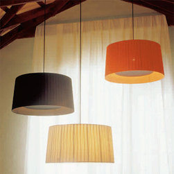 Santa & Cole - Santa & Cole | GT5 Pendant Light - Design by Santa & Cole design team, 1994.Imported from Barcelona.A large, slightly conical suspended lampshade of cotton ribbon, equipped with a disc (top) and translucent white fiber glass diffuser (bottom) to shield direct view of lamps, producing a rich display of light. Available in three colors: off-white, orange or black. Black cord and canopy.Pendants lights sold individually. Three lights shown at left.