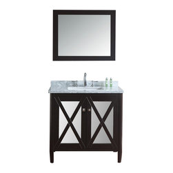"Ariel - Summit 36"" Espresso Single-Sink Bathroom Vanity Set - This vanity from our Summit collection blends modern and traditional elements into one design. From its tapered legs to mirrored door panels and rich espresso finish, this vanity is sure to provide a dash of style to any bathroom."