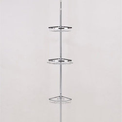 ORE International - Simple Modern Bathroom Pole w 3 Racks - This original modern and simple bathroom rack is designed to expand bathroom capacity, holding soaps, shampoo and other hygienic products. This model comes with three uniquely design racks with adjustable height pole to fit in any bathroom for better organization and practicality . This sleek and attractive design is small and compact in size great for storage and mobility. Made with durable and stainless steel chrome finished that never goes out of style. 12 in. W x 9 in. D x 25 in. H (5 lbs.)