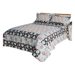 Blancho Bedding - [Alice and Flower] Cotton 3PC Vermicelli-Quilted Patchwork Quilt Set (King Size) - The [Alice and Flower] Quilt Set (King Size) includes a quilt and two quilted shams. This pretty quilt set is handmade and some quilting may be slightly curved. The pretty handmade quilt set make a stunning and warm gift for you and a loved one! For convenience, all bedding components are machine washable on cold in the gentle cycle and can be dried on low heat and will last for years. Intricate vermicelli quilting provides a rich surface texture. This vermicelli-quilted quilt set will refresh your bedroom decor instantly, create a cozy and inviting atmosphere and is sure to transform the look of your bedroom or guest room. (Dimensions: King quilt: 92.9 inches x 103 inches Standard sham: 24 inches x 33.8 inches)