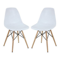 "LexMod - Pyramid Dining Side Chairs Set of 2 in White - Pyramid Dining Side Chairs Set of 2 in White - These molded plastic chairs are both flexible and comfortable, with an exciting variety of base options. Suitable for indoors or out, appropriate for the living and dinning room, these versatile chairs are a great addition to any home dcor statement. Set Includes: Two - Wood Pyramid Side Chair Solid Wood Base, Plastic Non-Marking Feet, For Indoor or Outdoor Use Overall Product Dimensions: 21""L x 18.5""W x 32.5""H Seat Dimensions: 17""L x 18""W x 18""H - Mid Century Modern Furniture."