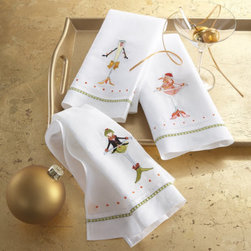 Grandin Road - Set of Three Patience Brewster Cocktails Tea Towels - Each set features one each of Patience Brewster's whimsical characters Cosmo Girl, Oliver Martini, and Champagne. 100% linen. Finished with a hemstitch detail. Machine washable. Our Cocktails Tea Towels make the perfect holiday hostess gift – plus, they're so adorable and affordable, you'll need a set for yourself. Colorful designs are meticulously embroidered on a crisp, white linen background, for a truly enchanting – and useful – kitchen or powder room display.. . . . Imported.