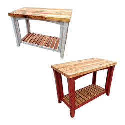 Modern Block Island - Beautiful and functional. Available in two colors: White and Crimson. Perfect for any kitchen space. Made from reclaimed heart pine.