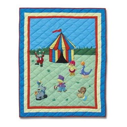 Patch Magic - Circus Crib Quilt - 36 in. W x 46 in. L. Handmade, hand quilted. 100% CottonMachine washable, but for best care hand wash in cold water. Do not machine dry. Do not dry clean. Line or flat dry only.