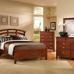 Vaughan Bassett - 5-Piece Arched Panel Bedroom Set in Cherry Fi - Choose Bed Size: FullIncludes arched panel bed, chest, nightstand and triple dresser and landscape mirror. Cherry finish. Assembly required. Chest:. 5 Drawers. 38 in. W x 18 in. D x 51 in. H. Nightstand:. 2 Drawers. 26 in. W x 16 in. D x 29 in. H. Triple dresser:. 7 Drawers. 56 in. W x 18 in. D x 41 in. H. Landscape mirror:. Beveled glass. 35 in. L x 3 in. W x 39 in. H. Arched panel bed:. Full Size:. Includes arched headboard, platform footboard, wood rails and 3 1-inch slats. Arched headboard: 60 in. L x 2.5 in. W x 52 in. H. Platform footboard: 57 in. L x 2.5 in. W x 21 in. H. Wood rails: 76 in. L x 6 in. W x 1 in. H. Queen Size:. Includes arched headboard, platform footboard, wood rails and slats. Arched headboard: 69 in. L x 2.5 in. W x 56 in. H. Platform footboard: 64 in. L x 2.5 in. W x 21 in. H. Wood rails: 82 in. L x 6 in. W x 1 in. H. King Size:. Includes arched headboard, platform footboard, wood rails and metal support slats. Arched headboard: 86 in. L x 2.5 in. W x 56 in. H. Platform footboard: 81 in. L x 2.5 in. W x 21 in. H. Wood rails: 82 in. L x 6 in. W x 1 in. H. Under bed storage box: 52 in. L x 19 in. W x 7.5 in. H (optional)