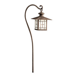 LANDSCAPE - LANDSCAPE Mission Lantern Path Light X-ZP91351 - Mission styling paired with a long, sweeping arm, this Kichler Lighting path light features a miniature lantern shape finish in a Patina Bronze with clean, angular lines that are accentuated by satin etched glass panels.