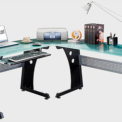 None - Loft-style Tempered Glass L-shaped Computer Desk - This multifunctional,ergonomic L-shaped tempered glass computer desk is ideal for your study or home office. With frosted glass and graphite styling,this beautiful and unique computer desk provides plenty of workspace and storage.