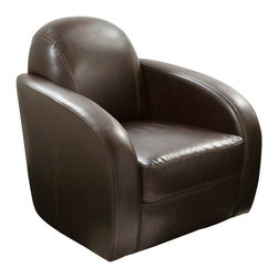Diamond Sofa - Stetson Low Profile Swivel Chair - PU Leather in Mocca Finish. Polydacron, Polyester Fibers. Deep Barrel Sit. 360 Degree Swivel. Sleek, Contemporary Low Profile Design. Metal Base. No Assembly Required. 32 in. L x 35 in. W x 34 in. H (86 lbs.)The Stetson Swivel Chair by Diamond Sofa provides a chic, modern style along with comfort and functional ability. Swiveling 360 degrees, the Stetson chair is more than just for looks, but also a comfortable chair that will soon become your favorite seat in the house. The low profile styling will help you to achieve that look you have always wanted. Extra wide metal base with low center of gravity provides for maximum stability. Finished in a supple Mocca PU Leather provides an inviting and comforting area for relaxing after a taxing day.