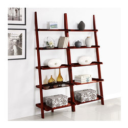 None - Cherry Five-tier 2-piece Leaning Ladder Shelf Set - This unique leaning ladder shelf set has a beautiful cherry finish and will make a stylish addition to any room in your home. With five tiers, this shelf set provides storage or placement for decoration.