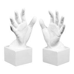 Reach Out Bookends - Set of 2 - Need a hand getting your books organized? Take two—these two, made from glossy white ceramic. They stand out beautifully against a dark wood shelf, or add some eclectic pizazz to a colorful open shelf.