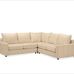 """PB Comfort Square Upholstered 3-Piece L-Shaped Corner Sectional, Knife, Down Ble - Built by our own master upholsterers in the heart of North Carolina, our PB Comfort Square Upholstered sectional is designed for unparalleled comfort with deep seats and three layers of padding. 107.5"""" w x 107.5"""" d x 42"""" d x 39"""" h {{link path='pages/popups/PB-FG-Comfort-Square-Arm-4.html' class='popup' width='720' height='800'}}View the dimension diagram for more information{{/link}}. {{link path='pages/popups/PB-FG-Comfort-Square-Arm-6.html' class='popup' width='720' height='800'}}The fit & measuring guide should be read prior to placing your order{{/link}}. Choose polyester wrapped cushions for a tailored and neat look, or down-blend for a casual and relaxed look. Choice of knife-edged or box-style back cushions. Proudly made in America, {{link path='/stylehouse/videos/videos/pbq_v36_rel.html?cm_sp=Video_PIP-_-PBQUALITY-_-SUTTER_STREET' class='popup' width='950' height='300'}}view video{{/link}}. For shipping and return information, click on the shipping tab. When making your selection, see the Quick Ship and Special Order fabrics below. {{link path='pages/popups/PB-FG-Comfort-Square-Arm-7.html' class='popup' width='720' height='800'}} Additional fabrics not shown below can be seen here{{/link}}. Please call 1.888.779.5176 to place your order for these additional fabrics."""