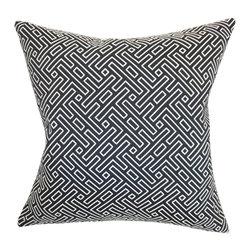 """The Pillow Collection - Ocussi Geometric Pillow Navy 18"""" x 18"""" - Decorate your home with a modern theme by adding this geometric throw pillow. This square pillow features a futuristic print in white and set against a navy blue background. This accent pillow fits perfectly on your sofa, bed or chair. Bring more dimension and style to your interiors by incorporating patterns like stripes, plaid and ikats from our pillow collection. Made from a blend of 50% cotton and 50% polyester fabric. Hidden zipper closure for easy cover removal.  Knife edge finish on all four sides.  Reversible pillow with the same fabric on the back side.  Spot cleaning suggested."""