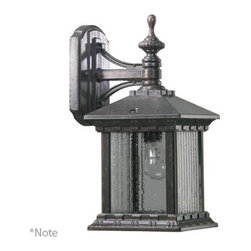 Quorum International - Huxley Rustic Silver One Light Outdoor Wall Lantern with Clear Glass - - Huxley Small Down Wall Lantern  - Diffuser Type: Water  - Diffuser Material: Glass  - Diffuser Panels: 4  - Shade Pattern: Ribbed Water  - Shade Color: Clear  - Diffuser Shape: Rectangle Quorum International - 7461-72