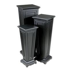 Matte Black Column Plant Stands Set of 2 - *This set of three plant stands has a matte black finish.