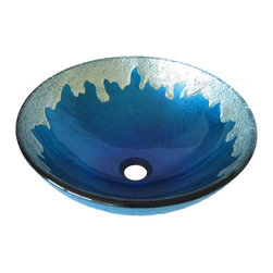 Novatto - DIACCIO Bright Blue with Silver Trim Hand Painted Glass Vessel Sink - Diaccio, from the exclusive hand painted vessel collection of Novatto, is spectacular. Constructed of high tempered glass, this round vessel sink is a dramatic hand-painted design in eye-catching bright blue with silver trim. The matching faucet disc directs the water flow into a graceful waterfall. Faucet sold separately. Novatto uses advanced technology, including computerized glass processing, to produce glass basins with unmatched structural integrity and longevity. In-house testing has found these glass vessels to be very durable and forgiving. Items such as toothbrushes or small jewelry should not scratch the surface. For best cleaning results, a soft cloth with mild soap and water or a non-abrasive glass cleaner is recommended. Made with the highest standards of quality and creative design, Novatto sinks add art and function to any bath or powder room at an affordable price.