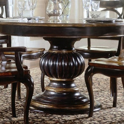 Hooker Furniture - Preston Ridge Round Pedestal Dining Table - Bold details and handcrafted quality put this Preston Ridge dining table on a unique, stylish pedestal. It's made with solid wood, with handsome cherry and gold-tone accents. The round top expands for extra guests, giving you versatile entertaining and mealtime possibilities. Table Extends from 54 in to 74 in.. Seats up to four. Made from hardwood solids with cherry, mahogany and white ash burl veneers. Distinctive black rub-through finish with rich contrasting cherry finish. Table Base: 28.5 in. Diameter x 25.25 in. H. Table Top: 54 in. Diameter x 5 in. H. Overall: 54 in. Diameter x 30 in. H (300 lbs.). Assembly Instruction