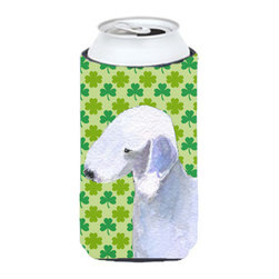 Caroline's Treasures - Bedlington Terrier St. Patrick's Day Shamrock Portrait Tall Boy Koozie Hugger - Bedlington Terrier St. Patrick's Day Shamrock Portrait Tall Boy Koozie Hugger Fits 22 oz. to 24 oz. cans or pint bottles. Great collapsible koozie for Energy Drinks or large Iced Tea beverages. Great to keep track of your beverage and add a bit of flair to a gathering. Match with one of the insulated coolers or coasters for a nice gift pack. Wash the hugger in your dishwasher or clothes washer. Design will not come off.