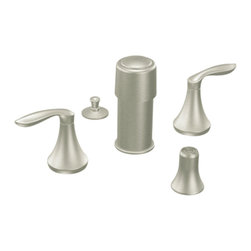 "Moen - Moen T5220BN Brushed Nickel Bidet Faucet Trim Two Lever Handle 8""-16"" Center - Moen T5220BN is part of the Eva Bath collection. Moen T5220BN is a new style bathroom, Bidet faucet trim. Moen T5220BN has a Brushed Nickel finish. Moen T5220BN two handle widespread Bidet faucet mounts in a 3-hole 8"" - 16"" Center bidet. Moen T5220BN two handle widespread trim requires Moen's 9430 MPact Bidet Rough-in valve to make this faucet complete. Moen T5220BN is part of the Eva collection, with sophisticated lines and elegant transitional design giving today's home that timeless appeal. Moen T5220 is not recommended for non-rim flush fixtures. Moen T5220BN two lever handle provides ease of operation. Brushed Nickel has a Lifeshine finish guarantee from Moen and provides style and durability. Moen T5220BN metal lever handle meets all requirements ofADA ICC/ANSI A117.1 and ASME A112.18.1/CSA B125.1, NSF 61/9 and proposition 6"". Water Sense Certified. Lifetime limited Warranty."