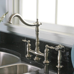 Premier - Charelstown 2-handle Brushed Nickel Lead-free Bridge-style Kitchen Faucet - Make food preparation easier and more stylish with this contemporary bridge-style faucet. Finished in a brushed nickel,the Charelstown two-handle faucet adds a unique touch to any kitchen space.