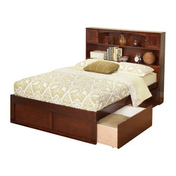 Atlantic Furniture - Atlantic Furniture Newport Bookcase Bed with Drawers in Antique Walnut-Full Size - Atlantic Furniture - Beds - AR8532114