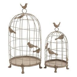 Benzara - Birdcage in Classic Mix of Elegance and Grandiose - Set of 2 - Jazz up home decor with this attractively detailed Metal Birdcage. Decorated with a distressed finish and dainty metal bird accents, this birdcage set will make for a captivating decor piece in different home setups. This set is available in a set of two differently sized birdcages that are carefully designed with great attention to details. Designed with slender metal bars arranged in a spiral pattern, this metal birdcage set is a wonderful mix of classic elegance and grandiose. The base of this birdcage set is decorated with lion-feet accents that elevate the base and also lend a classic touch to the charming design. Crafted from top quality metal, this birdcage set is high on durability and is sure to lest you long.
