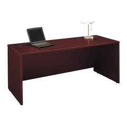 "BBF - BBF Series C 72W Desk Shell - BBF - Computer Desks - WC36736 - Design a custom desk and work area by combining the BBF Series C 72""W Desk Shell with other pieces in the Series C Collection. Attractive finish complements any office decor. Total configuration flexibility lets you outfit any-size office space. The Series C 72"" Desk Shell accommodates Corner Modules Return Bridges and Credenza pieces to either side and provides space for a 72""W Hutch for added storage. Space for two Pedestals under the work surface Keyboard Tray or Pencil Drawer adds to the versatility. Tough thermally fused laminate work surfaces resist scratching and dents looking good for years. Affordable elegance comes in a functional and convenient design. Solid construction meets ANSI/BIFMA test standards in place at time of manufacture; this product is American Made and is backed by BBF 10-Year Warranty."