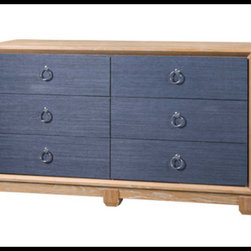 Bungalow 5 - Bungalow 5 Calvin 6-Drawer, Navy - Cerused oak and veneer with grasscloth drawer fronts and silver ring pulls.