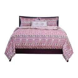 SIS Covers - SIS Covers Batik Ocean Mist Duvet Set - 6 Piece King Duvet S - Ikat inspired woven fabric in shades of pink, green, and navy.