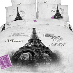 Dolce Mela - Eiffel Paris, Fun Novelty Bedding Set Quilt/Duvet Cover Sheets Set by Dolce Mela - Decorate your bedroom with this romantic souvenir print of Eiffel in Paris at 1889  surrounded with memorabilia letters and shades of gray, and printed dazzlingly on our soft combed cotton fabric, to create a nostalgia retro bedroom effect.