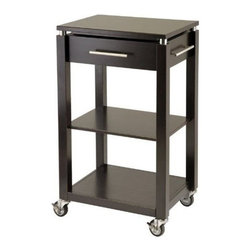Winsome Wood - Linea Kitchen Cart with Chrome Accent - The contemporary styling of our Linea Kitchen Cart has been expanded to include an entertainment cart. This cart comes with locking wheels, brushed stainless handle, one drawer and two shelves. It is solid wood construction and finished in our rich espresso matte color.