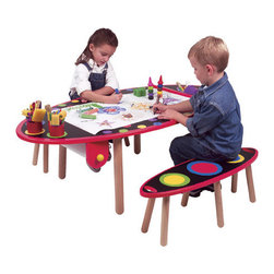 ALEX Toys - My Room Kids' 3 Piece Table and Bench Set - Durable hardwood table is perfect for all kinds of creative activities. Includes a paper roll holder that hangs under the table and a roll of 12'' x 100 feet of paper. Chalkboard tabletop surface features paper cutter, 3 recessed cup holes, 3 cups and printed canvas storage bag. Features: -Tabletop doubles as a chalkboard.-2 Benches; fits one or two kids.-Suitable for Ages: 3+.-Awards: Dr. Toy's 100 Best Children's Products, NAPPA Gold Seal Award, Oppenheim Toy Portfolio Platinum Award.-Includes paper roll holder, 100' of 12'' white drawing paper, paper cutter and canvas storage bag.-3 Recessed cup holders and 3 storage cups included.-Collection: My Room.-Distressed: No.-UV Resistant: No.-Wheels Included: No.-Table Legs: Yes -Number of Legs: 4.-Removable Legs: Yes..-Seating Included: Yes -Seating Type: Bench.-Number of Benches Included: 2.-Attached Seating: No.-Seating Cushion Included: No..-Drawers Included: No.-Shelving Included: No.-Storage Features: No.-Umbrella Included: No.-Chalkboard Included: Yes.-Whiteboard Included: No.-Easel Included: No.-Collapsible: No.-Minimum Age: 3.-Maximum Age: 6.-Total Seating Capacity: 2.-Outdoor Use: No.-Swatch Available: No.-Commercial Use: No.Specifications: -General Conformity Certified: Yes.Dimensions: -100 Feet of 12'' white drawing paper.-Bench dimensions: 10.75'' H x 32'' W x 11.5'' D.-Table dimensions: 18.75'' H x 52.5'' W x 27.75'' D.-Table Height - Top to Bottom: 4.5.-Table Width - Side to Side: 30.5.-Table Depth - Front to Back: 54.25.-Seating: Yes.-Drawer: No.-Shelving: No.-Umbrella: No.-Overall Product Weight: 59.Assembly: -Assembly Required: Yes.