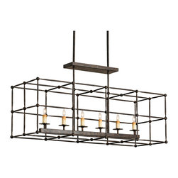 Kathy Kuo Home - Industrial Architectural 6 Light Island Chandelier - There's something almost scientific in the attitude this piece gives off, as though the wrought iron frame were a laboratory space under observation.  Definitely a signature piece for fans of unique industrial, vintage and eclectic lighting.