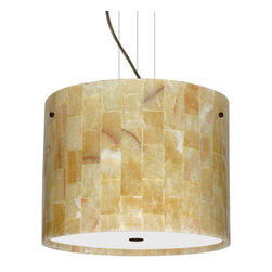 Besa Lighting - Besa Lighting 1KV-4007MX-LED Tamburo 3 Light LED Cable-Hung Pendant - Tamburo is a classic open-ended cylinder of handcrafted glass, a shape that will stand the test of time. Our Mosaic Onyx glass uses a pattern of fitted natural Onyx tiles, weaved together in a tapestry of light and dark earth-tones. This design is hand-carved from stone and is highly textured. Each stone tile in this decor has its own artistic nature that can be individually appreciated. When lit this gives off a light that is functional and soothing. The cable pendant fixture is equipped with three (3) 10' silver aircraft cables and 10' AWM cordset, and a low profile flat monopoint canopy.Features:
