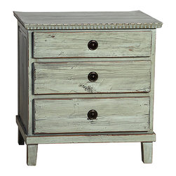 Soren Nightstand, Distressed Grey - The Soren nightstand is a charming accent for the country or cottage bedroom with its rustic style. Delivering three spacious drawers ideal for keeping personal items close to the bedside, this dresser is built in the Swedish style from reclaimed old wood. Antiqued hardware and a highly distressed hand-applied paint finish in your choice of gray or black completes the lovely rustic look of this nightstand.