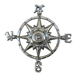 Handcrafted Nautical Decor - Chrome Rose Compass 12'' - This Chrome Compass Rose 12'  is   truly a great gift to any nautical enthusiast. Inspired by authentic    compasses, this rose compass features a nautical star in the middle  and   of course the directions north, south, east and west. Hang this   compass  to add a nautical flair to any wall in your home.--12'Long x 1.5'Wide x 12'High------    Chrome finish gives a modern nautical appearance--    --    Easily mountable to any room in your home--    Compass is clearly marked North, South, East, West--