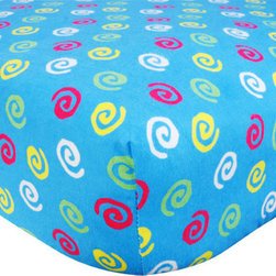 """Trend Lab - Crib Sheet - Swirl Print Flannel - Your child's bed will be soft and cozy with this Swirl Print Flannel Fitted Crib Sheet by Trend Lab. Sheet features a swirl print in paradise pink, lemon and electric lime on a turquoise background. Sheet features 7"""" deep pockets and fits a standard 52"""" x 28"""" crib mattress. Elastic around entire opening and elastic sheet straps sewn in each corner ensures a more secure fit. Coordinates with the Candy collection by Trend Lab."""