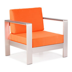 Zuo Modern - Cosmopolitan Armchair Cushions Orange - Metallic and natural, seductively combined to create the sexy Cosmopolitan armchair. The frame is forged from aluminum and the wood slats are teak. The cushions are UV and water resistant. Sit back, relax, and let mother nature take care of you.